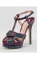 Nicholas Kirkwood Glittered Tstrap Platform Sandal Heels - Lyst