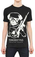 Philipp Plein Swarovski Printed Cotton Jersey Tshirt - Lyst