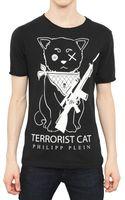 Philipp Plein Terrorist Cat Cotton Jersey T-Shirt - Lyst