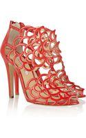 Oscar de la Renta Cutout Leather Sandals - Lyst
