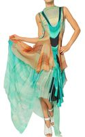 Felicity Brown Ruffled Printed Silk Chiffon Long Dress - Lyst