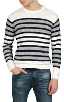Armani Jeans Sweater in Cotton Linen with Two-color Stripe - Lyst
