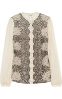 Temperley London Mia Lace and Silk-chiffon Blouse - Lyst