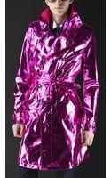Burberry Prorsum Metallic Silk Trench Coat - Lyst
