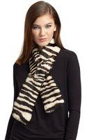 Lafayette 148 New York Zebra Print Rabbit Fur Wool Scarf - Lyst