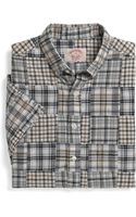 Brooks Brothers Slim Fit Short Sleeve Patch Madras Sport Shirt - Lyst