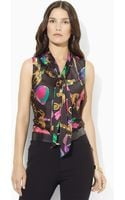 Lauren by Ralph Lauren Multi Blouse with Drop Tie - Lyst