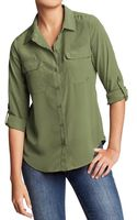 Old Navy Button-Front Crepe Blouse - Lyst