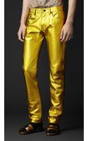 Burberry Prorsum Metallic Leather Jeans - Lyst