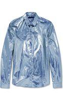 Burberry Prorsum Slim Fit Metallic Cotton Shirt - Lyst