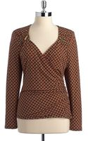 MICHAEL Michael Kors Printed Zipdetail Jersey Top - Lyst
