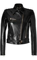 Versace Black Leather Biker Jacket - Lyst