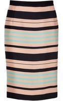 Tara Jarmon Mint peach black Silk Skirt - Lyst