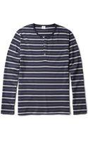 Sunspel Striped Cotton-jersey Henley T-shirt - Lyst