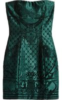 Balmain Brocadeeffect Embossed Velvet Mini Dress - Lyst