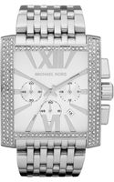 Michael Kors Midsize Silver Color Stainless Steel Gia Chronograph Glitz Watch - Lyst