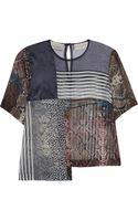 Preen By Thorton Bregazzi Quarter Paneled Silkgeorgette Top - Lyst