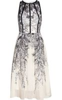 Lela Rose Printed Cotton-voile Dress - Lyst