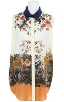 Mother Of Pearl Sleeveless Shirt in Crepe De Chine with Multicolored Pattern - Lyst