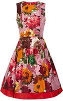 Oscar de la Renta Floral-Print Silk-Twill Dress - Lyst