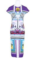 Mary Katrantzou Viscose and Elastane Tube Dress with A Stamp and Banknotes Kaleidoscopic Print - Lyst