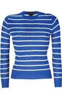 Ralph Lauren Black Label Lagoon Blue-white Striped Cable Knit Silk Pull-over - Lyst