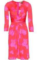 Issa Print Silk Dress with Draping - Lyst
