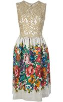 Dolce & Gabbana Floral Print and Lace Dress - Lyst