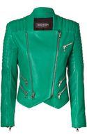 Balmain Emerald Lambskin Biker Jacket - Lyst