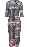 Preen By Thorton Bregazzi Greymulti Snake Print Stretch Jayne Dress - Lyst