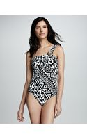 Kenneth Cole Printed One Shoulder One Piece - Lyst