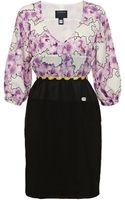 Class Roberto Cavalli Orchid Print Jersey Dress - Lyst