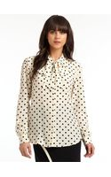 Moschino Silk Polka Dot Tie Neck Blouse - Lyst