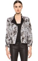 3.1 Phillip Lim Floral Relief Print Corded Motorcycle Jacket in Antique White - Lyst