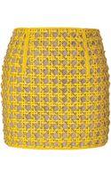 Balmain Mini Skirt with Crystals in Dark Yellow - Lyst