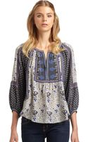 Rebecca Taylor Ethnic Printed Silk Blousesteel - Lyst