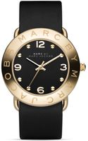 Marc By Marc Jacobs Amy Gold Black Leather Strap Watch 36mm - Lyst