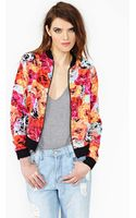 Nasty Gal Flower Punch Bomber Jacket - Lyst