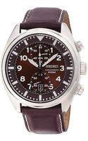 Seiko Mens Leather Chronograph Watch - Lyst