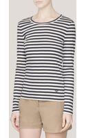 Tory Burch Eboni Striped Longsleeve T-shirt - Lyst