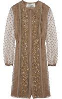 Valentino Leatherappliquéd Tulle Dress - Lyst