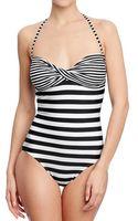 Old Navy Mixed Stripe Bandeau Twist Swimsuit - Lyst