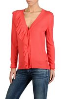 Armani Jeans Cardigan in Light-weight Viscose Blend with Ruches - Lyst