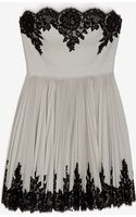 Robert Rodriguez Lace Applique Strapless Pleated Flare Dress - Lyst