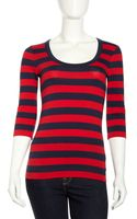 French connection Threequarter Sleeve Stripe Top - Lyst