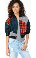Nasty Gal Playful Plaid Bomber Jacket - Lyst