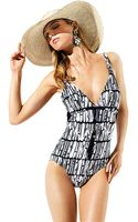 Badgley Mischka Corsica Tassle Front Onepiece Swimsuit - Lyst
