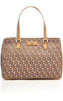 DKNY Saffiano Tan Large Tote Bag - Lyst
