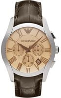 Emporio Armani Valente Stainless Steel and Leather Chronograph Watch Brown - Lyst