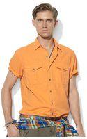 Polo Ralph Lauren Military Style Short Sleeve Woven Sport Shirt - Lyst